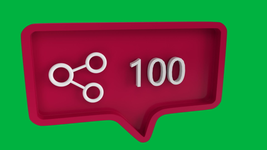 Digital animation of a connect icon with increasing count in a red message bubble. The background is green.The icon is used in social media | Shutterstock HD Video #1032814475