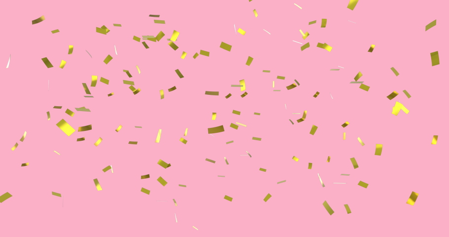 Digital animation of gold confetti falling against a pink background | Shutterstock HD Video #1032825191