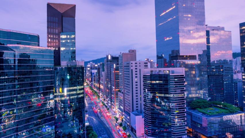 TimeLapse Traffic Seoul City at Gangnam Seoul South Korea | Shutterstock HD Video #1032831290