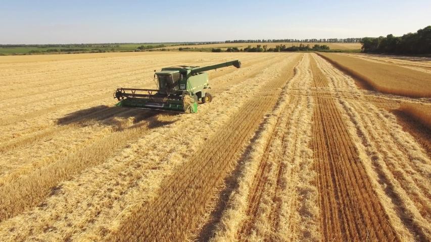 Ukraine, Kharkiv region July 5, 2019. Harvesting wheat. Photo from the drone, a special combine in the field.4k | Shutterstock HD Video #1032840710