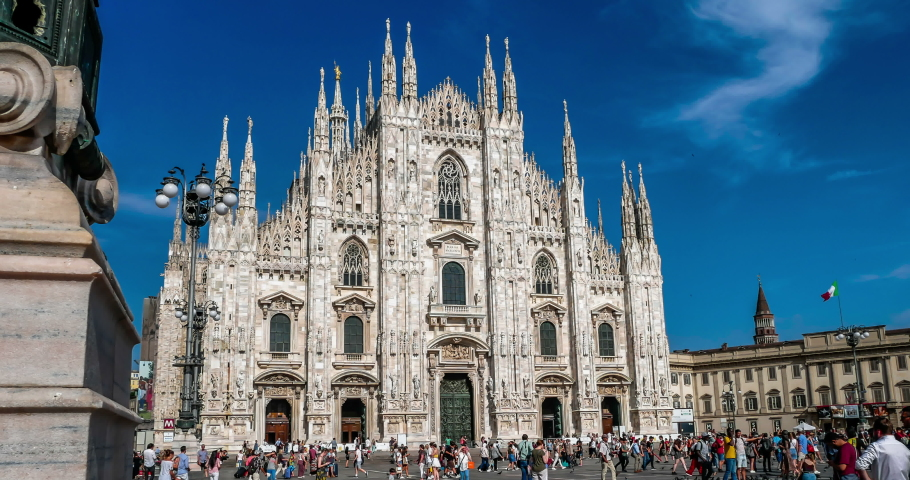 Piazza Duomo Milano full of Tourists Timelapse in Milan,Italy-June 2019 | Shutterstock HD Video #1032875342