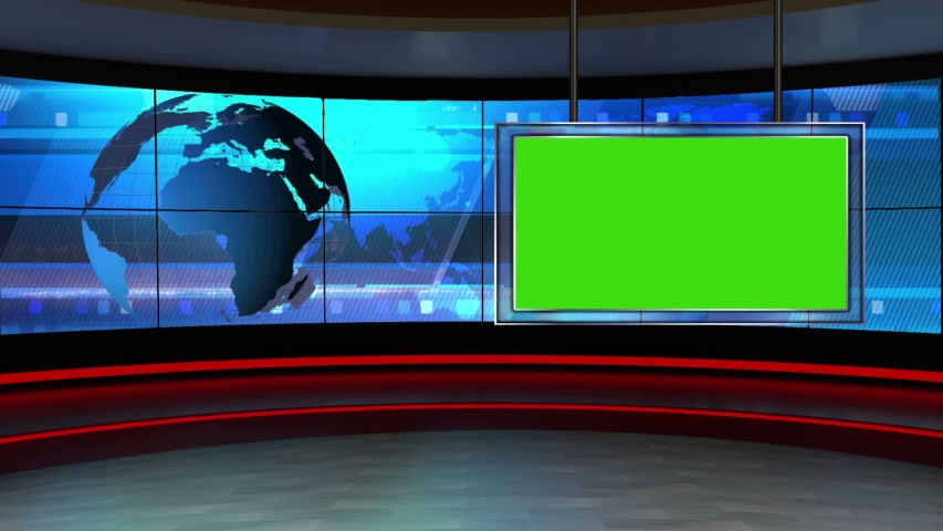 News tv studio set, virtual green screen background loop