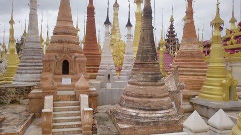 Inn Tain Pagoda at Inle Lake, Myanmar (Burma) - Dolly In