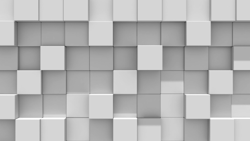 Gray Wall of cubes falls apart. Blocks are moving out of flat surface and fall down. Abstract transition, 3D animated intro. Transparent background ProRes 4444 with alpha channel in 4k | Shutterstock HD Video #1032889760