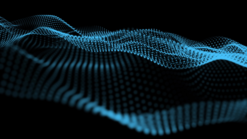 Abstract Blue particles wave motion background. 4K Render #1032902363