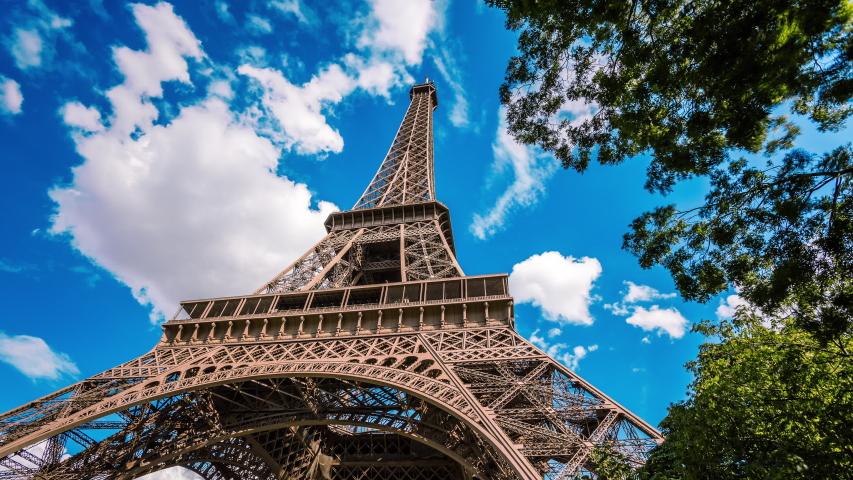 Paris, France - August 5, 2014 : Eiffel tower time lapse #1032912599
