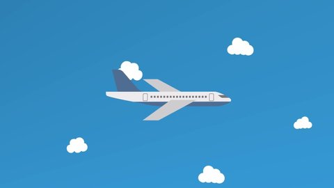 Cartoon Air Plane Flying Above The Stock Footage Video 100