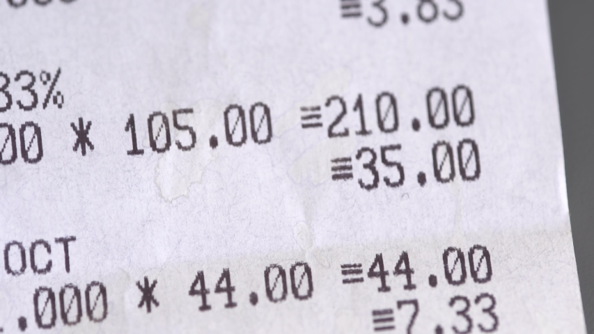 Supermarket receipt from the cash register macro. Grocery shopping | Shutterstock HD Video #1032937484