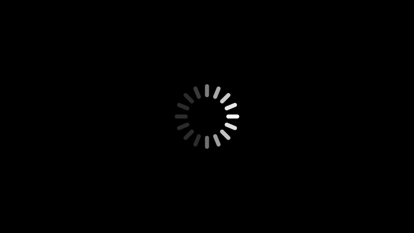 A white loading wheel icon spins quickly on black background as operating system boots.
