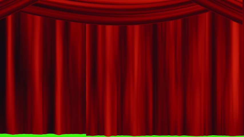 Red Theater Curtain Overlay / Transition Animation with Green Screen background | Shutterstock HD Video #1032954920
