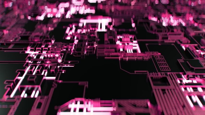 4K Abstract Futuristic Motherboard Circuit. Highly realistic CGI animation. #1032963611