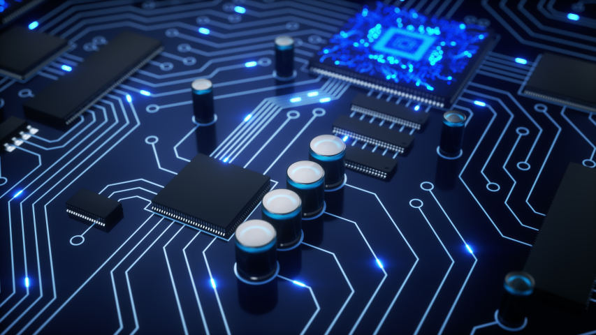 Camera transition from one CPU, flies over others as they shoot bright blue electrons around a circuit board as the camera pans around the motherboard with a shallow depth of field. 4K animation Royalty-Free Stock Footage #1032971924