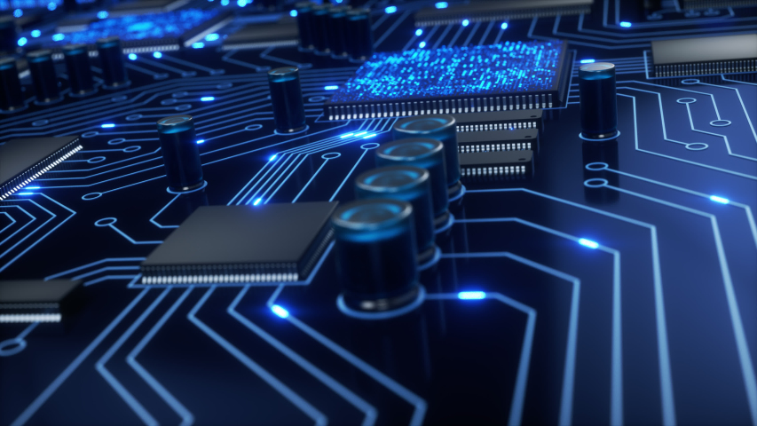 CPUs and other processors shoot bright blue electrons around a circuit board as the camera pans around the motherboard with a shallow depth of field. 4K animation Royalty-Free Stock Footage #1032971927