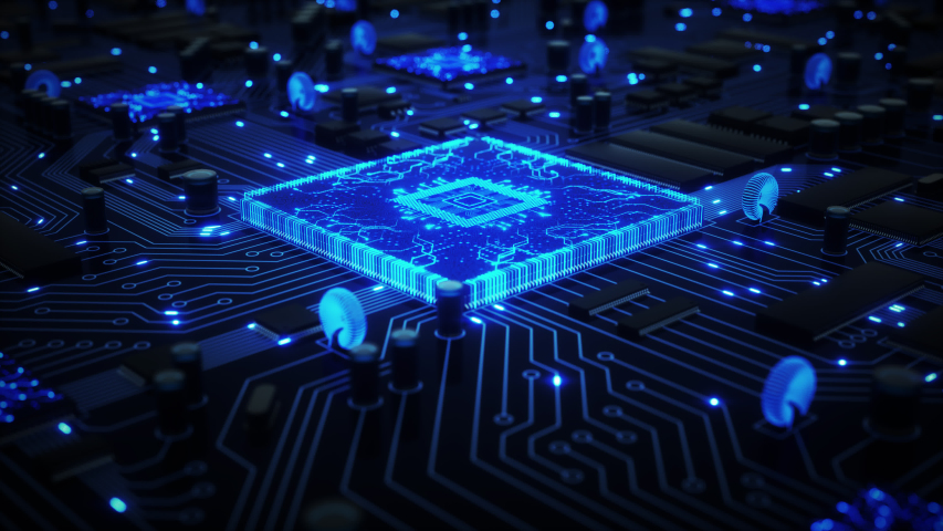 CPUs and other GPUs shoot bright blue electrons around a circuit board as camera circles around bit CPU with a shallow depth of field. 4K animation Royalty-Free Stock Footage #1032971930