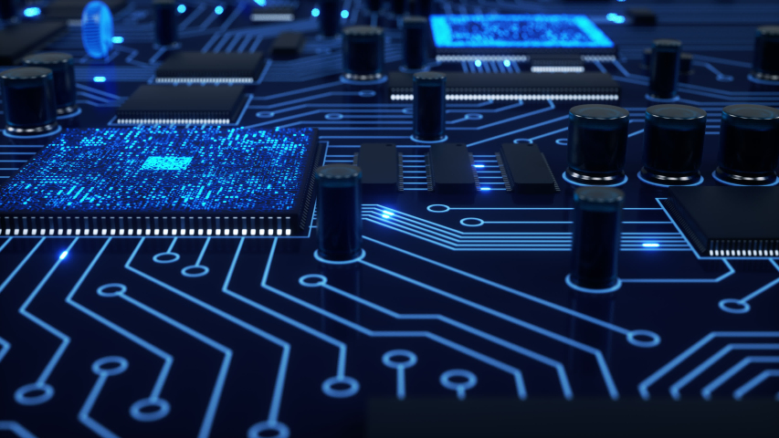 Bright blue electrons fly around a stylized circuit board as processors compute and communicate. Slow close-up dolly with shallow depth of field. 4K animation Royalty-Free Stock Footage #1032971933