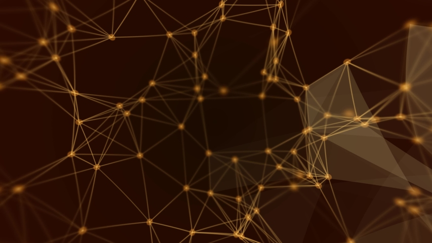 Abstract molecular structure in the form of a future triangle, motion graphics, golden graphics, orange background and yellow Concept of computer network connection, digital animation technology in th Royalty-Free Stock Footage #1032976781
