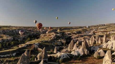 Aerial Drone Hot Air Balloons Over Cappadocia Turkey