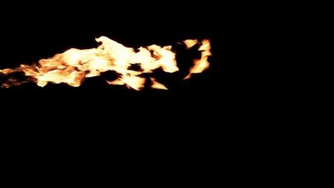 Slow motion flamethrower on black background