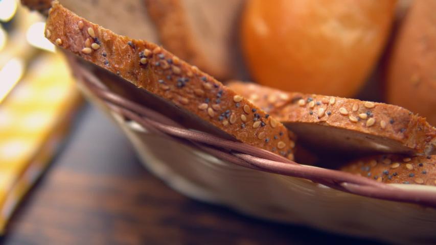 Close up crisp bread in breadbasket | Shutterstock HD Video #1033001876