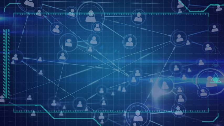 Digital animation of a network of lines connected with profile icons. The foreground has a screen with symbols and borders | Shutterstock HD Video #1033017275