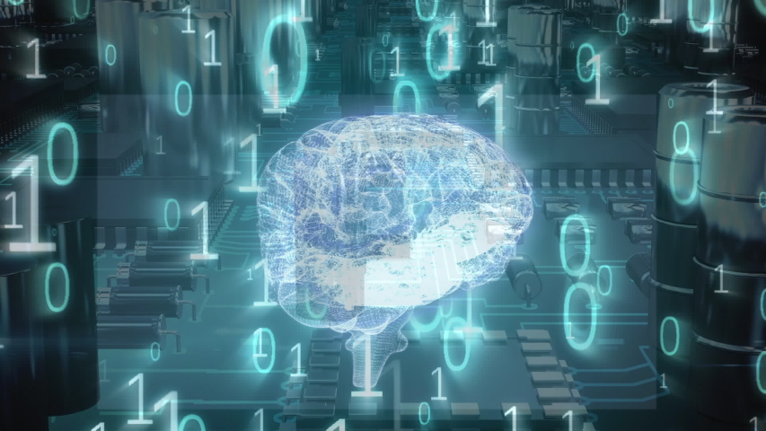 Digital animation of a glowing brain hologram moving through a circuit board. The foreground is filled with binary codes   Shutterstock HD Video #1033018493
