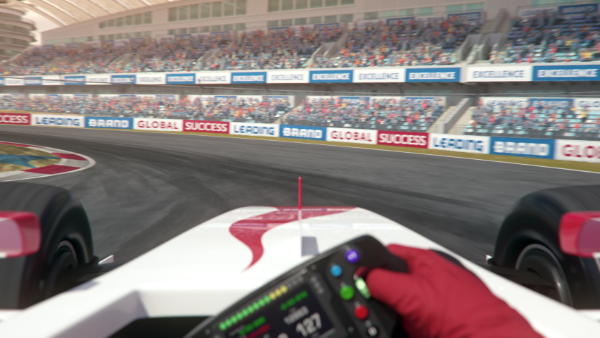 POV shot of a generic formula one race car driving along the race track - center view - realistic high quality 3d animation