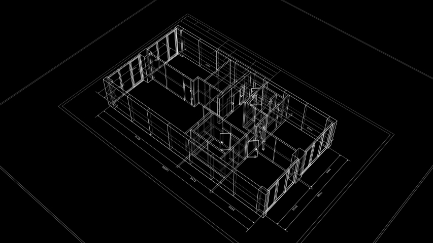 Abstract Apartments Building Process on Black Background. Last Turn is Loop-able. Looped 3d Animation of Rotating Blueprint in Grid Mesh. Construction Business Concept. 4k Ultra HD 3840x2160.