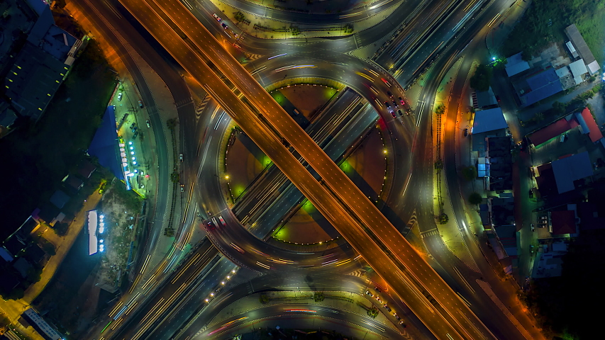 4K, Time lapse traffic at circle and expressway and motorway and highway in the detail and intersection  | Shutterstock HD Video #1033116575