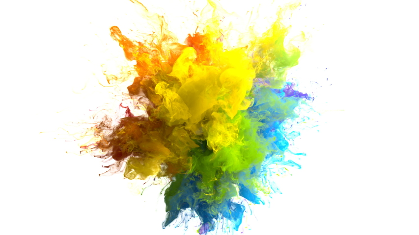 Color Burst iridescent multicolored colorful rainbow smoke powder explosion fluid ink particles slow motion alpha matte isolated on white   Shutterstock HD Video #1033137368