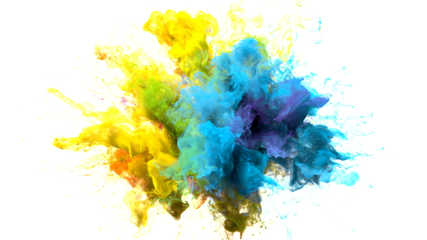 Color Burst iridescent multicolored colorful rainbow smoke powder explosion fluid ink particles slow motion alpha matte isolated on white Royalty-Free Stock Footage #1033137371