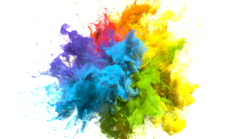 Color Burst iridescent multicolored colorful rainbow smoke powder explosion fluid ink particles slow motion alpha matte isolated on white #1033137374