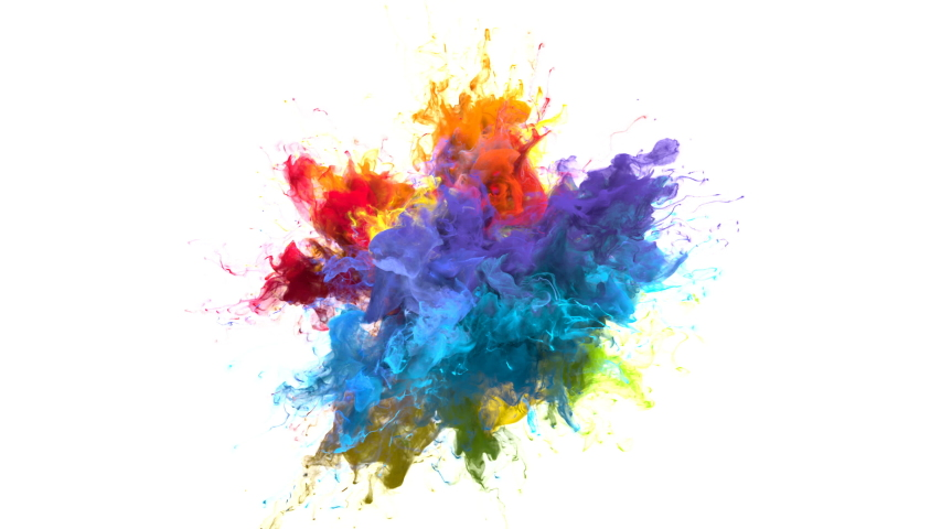 Color Burst iridescent multicolored colorful rainbow smoke powder explosion fluid ink particles slow motion alpha matte isolated on white | Shutterstock HD Video #1033137377