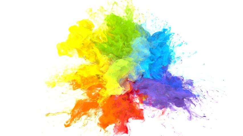 Color Burst iridescent multicolored colorful rainbow smoke powder explosion fluid ink particles slow motion alpha matte isolated on white   Shutterstock HD Video #1033137380