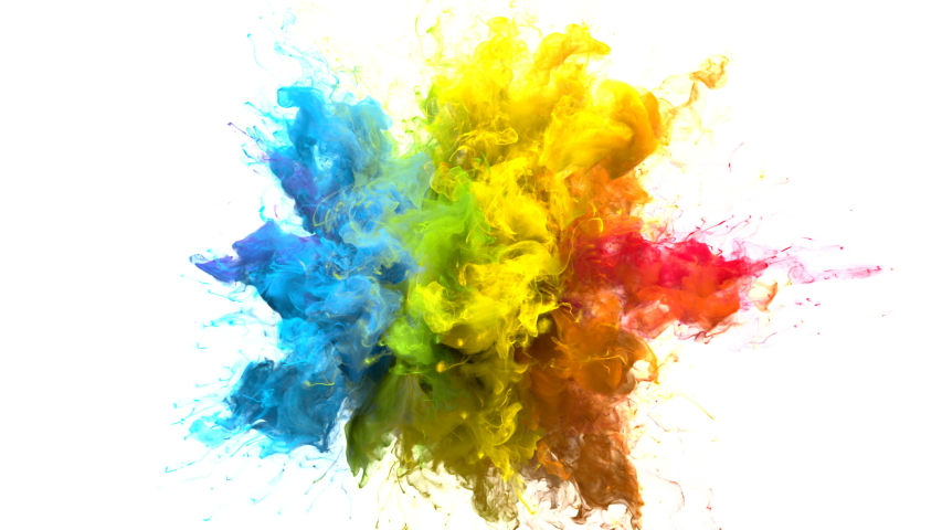 Color Burst iridescent multicolored colorful rainbow smoke powder explosion fluid ink particles slow motion alpha matte isolated on white #1033137395