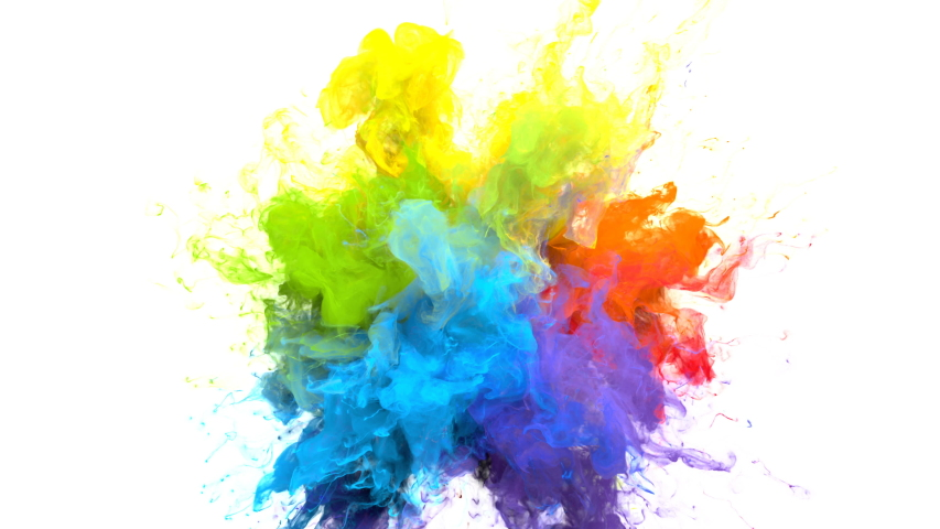 Color Burst iridescent multicolored colorful rainbow smoke powder explosion fluid ink particles slow motion alpha matte isolated on white   Shutterstock HD Video #1033137398