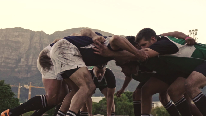 Rugby players doing a scrum at the field. Rugby players fight for the ball on professional rugby stadium.