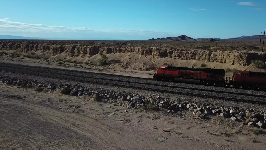 Franconia, United States - 02 01 2018: Grand Canyon, Arizona, February 2018 - aerial shot of train transportation in desert