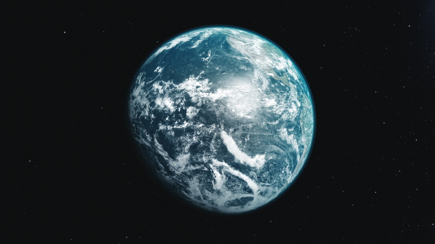 Motion graph half lit blue white planet Earth rotating about axis approaches and moves away in black space. 3d animation. Science and technology concept. 4K. Elements of this media furnished by NASA | Shutterstock HD Video #1033184342