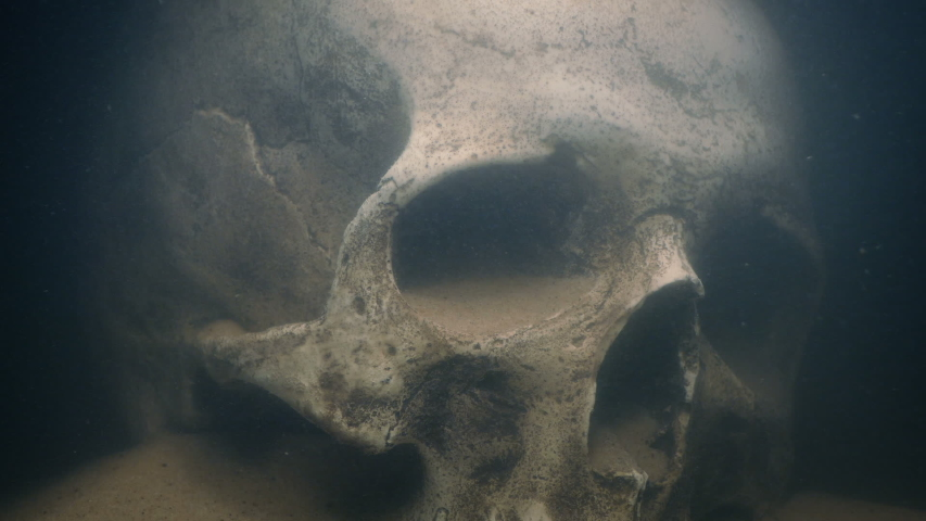 Torch Lights Up Skull Underwater