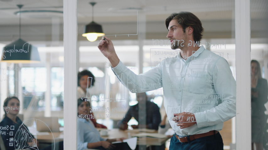 young businessman writing on glass whiteboard team leader training colleagues in meeting brainstorming problem solving strategy sharing ideas in office presentation seminar 4k