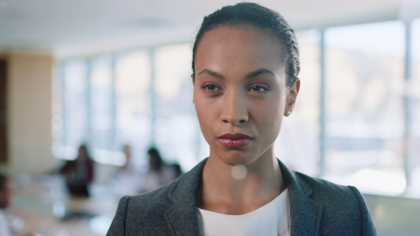 Portrait mixed race business woman executive looking serious confident female entrepreneur enjoying leadership proud manager in office boardroom 4k | Shutterstock HD Video #1033260494