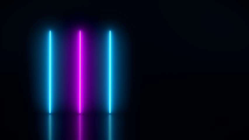 Video animation of glowing vertical neon lines in blue and magenta on reflecting floor. - Abstract background - laser show | Shutterstock HD Video #1033268615