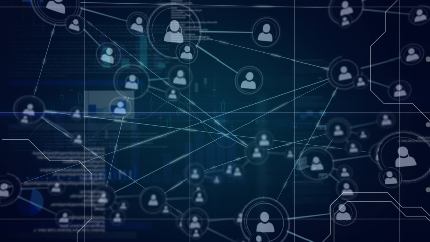 Digital animation of profile icons in circles connected by asymmetrical lines and program codes moving in screen with different data in the background. | Shutterstock HD Video #1033270808