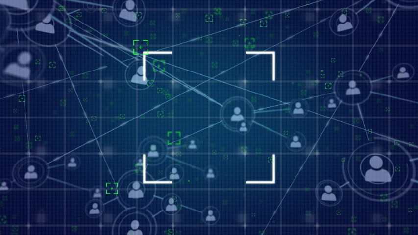 Digital animation of a network of lines connected with profile icons on grid lines. on the foreground are square cross hairs | Shutterstock HD Video #1033277231