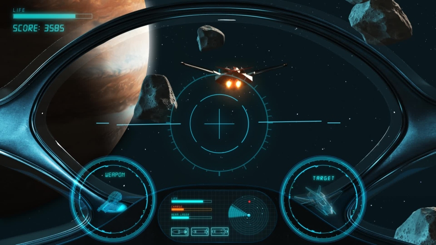 Space Shooter 3D Video Game imitation. The Spacecraft In Space Destroys The Enemy Crew With A Laser Gun. Planet Jupiter Asteroids And Stars On The Background. | Shutterstock HD Video #1033295393