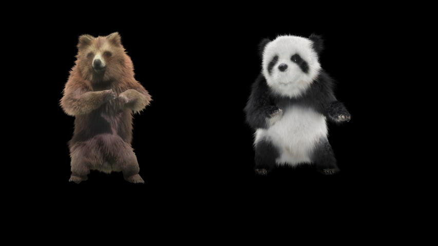Panda bear Zoo CG fur 3d rendering animal realistic CGI VFX Animation Loop Crowd dance composition 3d mapping cartoon Motion Background, Included in the end of the clip with Alpha matte.