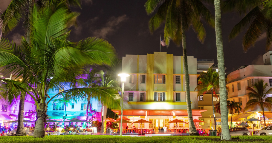 Miami Beach, Florida, USA on Ocean Drive at sunset with famous colorful art deco buildings. timelapse video in 4K.