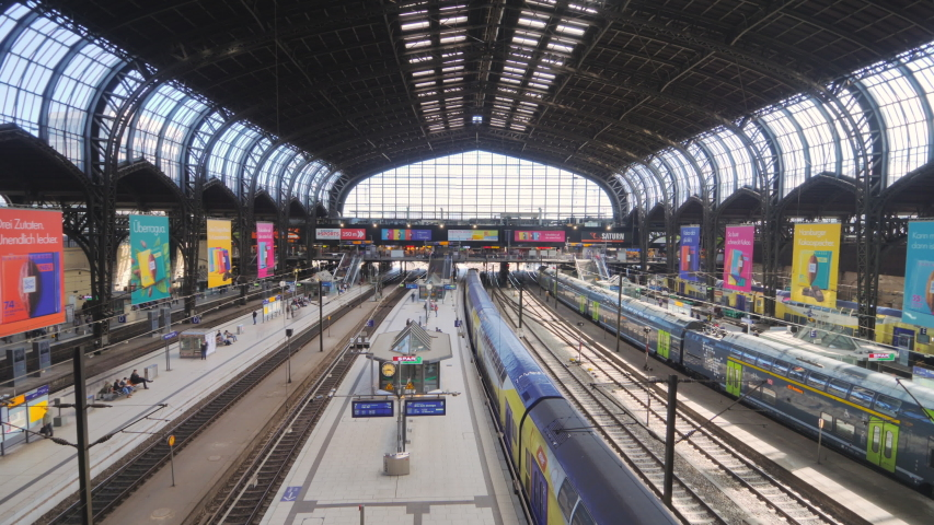 Hamburg germany 01/07/2019:train station from above timelapse from high point of view