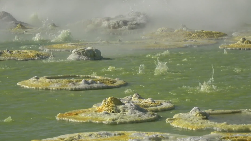Dallol Lake, Ethiopia. The colorful landscape of Dallol lake in Crater of Dallol Volcano. Lake Dallol with its sulphur springs is the hottest place on the Earth.