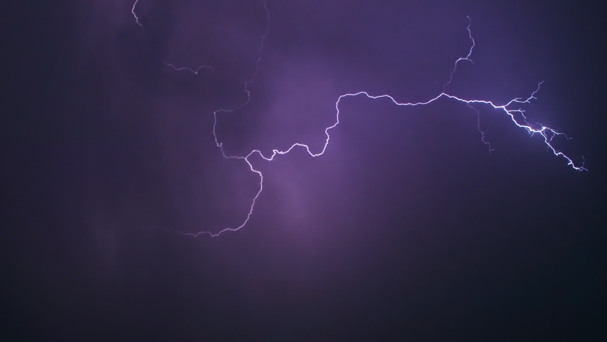 View of amazing lightning strikes on night dark sky in summer. Stormy sky with lightning flashing and thunder. Night thunderstorm clouds. Slow motion. | Shutterstock HD Video #1033318256